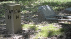 Cemetery row marker Stock Footage