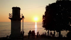 People watching sunset in Rovinj - stock footage