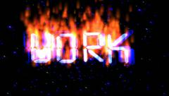 Flying work text in flames Stock Footage