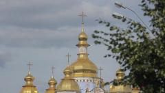 Domes of St. Michael Cathedral in Kiev Stock Footage