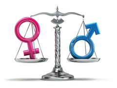 Gender equality concept. Male and female signs on the scales isolated on whit Stock Illustration
