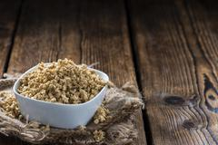 Wooden background with Soy Meat - stock photo
