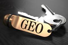 GEO written on Golden Keyring - stock illustration