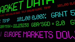 Stock ticker europe market down - stock footage