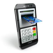 Mobile banking concept. Smartphone as ATM and credit cards. Stock Illustration