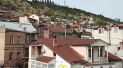 Roofs of old Tbilisi, Georgia Stock Footage
