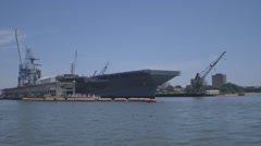 Aircraft Carrier Gerald R. Ford (CVN 78)  Aircraft Launch System testing Stock Footage