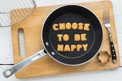 Alphabet biscuits quote CHOOSE TO BE HAPPY kitchenware - stock photo