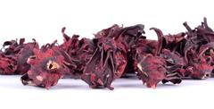 Dried roselle isolated on the white background Stock Photos
