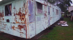 Dilapidated Old Mobile Home- Cloudy Day- Burkburnett TX Stock Footage