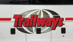 Trailways bus company logo, loop Stock Footage
