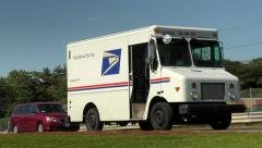 US Post office mail delivery van, traffic Stock Footage