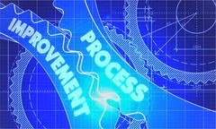 Process Improvement on the Gears. Blueprint Style Stock Illustration