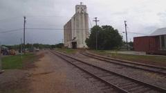 Railroad Tracks Grain Elevator In Small Town- Burkburnett TX Stock Footage