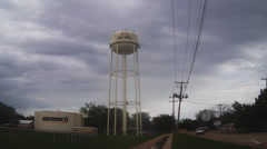 Water Tower On Cloudy-Rainy Day- Burkburnett Texas Stock Footage