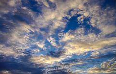 Stock Photo of Nice cloudy sky with sunset light