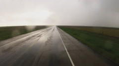 Driving West Texas Road In Rainstorm- Quitaque Texas Stock Footage