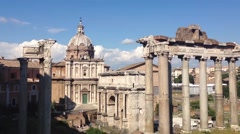 Temple of Saturn and Santi Luca e Martina in Rome Stock Footage