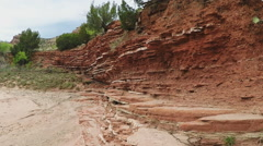 Eroded Rock Layers In Creek Bed- Caprock Canyon State Park Stock Footage