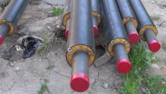 Plastic modern technology  heating pipes in workplace near city house Stock Footage