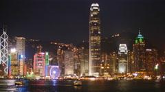 Time lapse cruiseliner through Hong Kong at night 4K Stock Footage