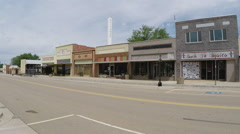 Small Rural Town Main Street With Pickup Truck- Quitaque TX Stock Footage