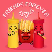 Stock Illustration of fried potatoes and ketchup and mustard cartoon