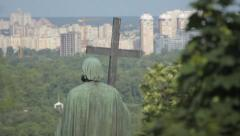 Monument To Volodymyr The Great. Rear view Stock Footage