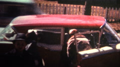 (8mm Vintage) 1966 Family Coming Home From Church Stock Footage