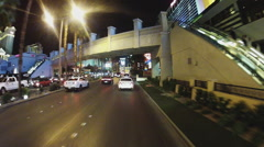 Car Mounted Camera Rolling Past Flamingo Casino- Las Vegas NV Stock Footage