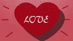 Animation Heart and Love. Valentine's Day Background Stock Footage