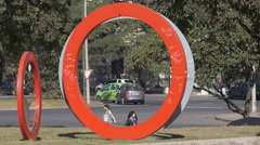 Colored rings Bicentennial Square, Cordoba Stock Footage