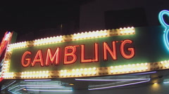 Generic Gambling Neon Sign With Blinking Lights- Night - stock footage