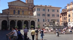 Tilt to the Santa Maria in Trastevere Rome Italy Stock Footage