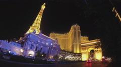 Paris Themed Casino On Las Vegas Boulevard At Night Stock Footage