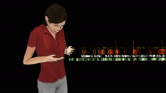 Girl depicting the operation on the tablet PC and the output stream of digital d Stock Footage
