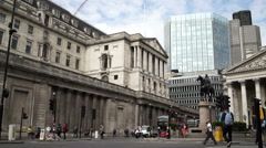Bank of England headquarters in London. - stock footage