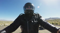 Motorcycle Rider On Freeway Passed By Other Motorcycles Stock Footage