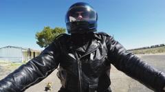 Low Angle Motorcyclist On Route 66 Near Kingman AZ Stock Footage