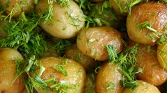 Roasted new potatoes with dill Stock Footage