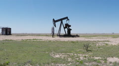 Motionless Oil Well Jack Not Pumping Oil Close- New Mexico Plains Stock Footage