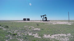 Motionless Oil Well Jack Not Pumping Oil Wide- New Mexico Plains Stock Footage