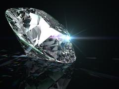 Shiny diamond on black background. Stock Illustration
