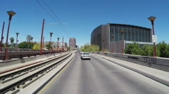 Driving Past Phoenix Arizona Public Library Main Branch Stock Footage