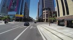 Turning Corner In Downtown Phoenix Arizona Business District Stock Footage