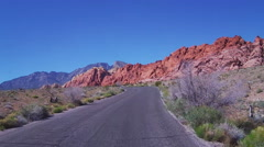 POV Motorcyclist In Red Rock Canyon National Conservation Area Stock Footage