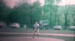 (8mm Vintage) 1965 Boy Playing Little League Baseball Pitching - stock footage