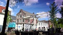 Stock Video Footage of ULTRA HD 4K real time shot,Skinny bridge in Amsterdam