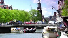 ULTRA HD 4k  Zoom out of canal near Munttoren Tower in Amsterdam Stock Footage