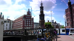 ULTRA HD 4k  View of traffic street near Munttoren Tower in Amsterdam Stock Footage